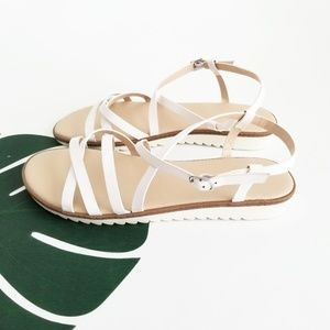 Forever 21 White Strappy Sandals Size 8